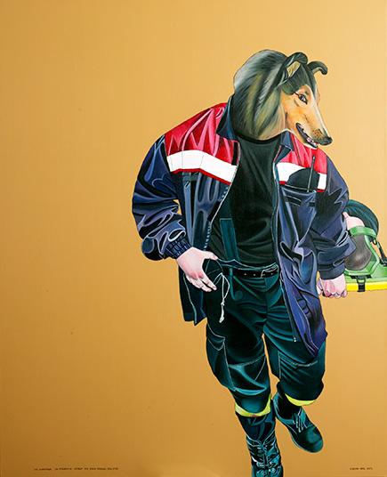 Der Hundeführer - zur Spurensuche - ertarnt sich seinen tierischen Begleiter, 2005